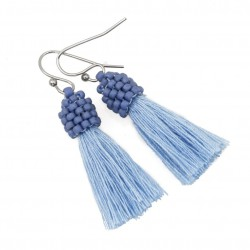 Small blue tassel earrings