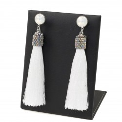 Studs tassel earrings white with rivoli crystals white opal