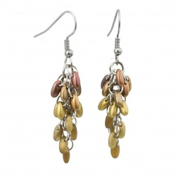 A bunch earrings,  surgical steel, Czech glass golden