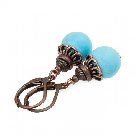 Synthetic turquoise earrings in copper color