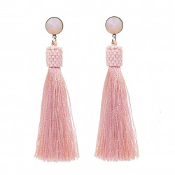 Pink and salmon tassel earrings with rivoli opal peach crystals