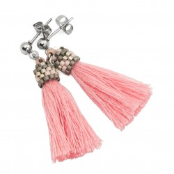 Small tassel earrings rose