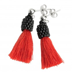 Small tassel earrings red surgical steel, sticks