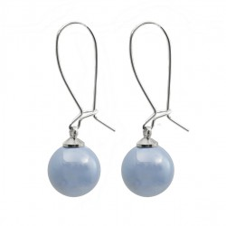 Earrings pearls acrylic cool blue