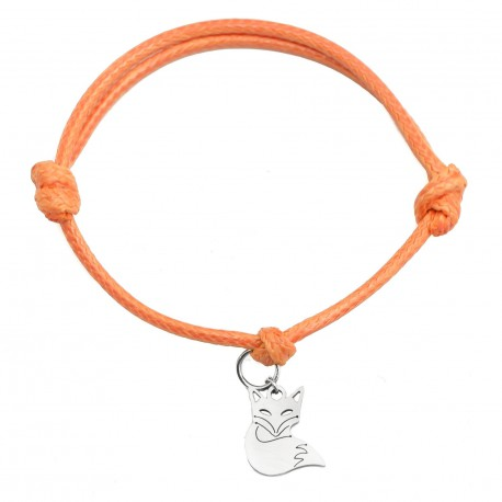 String bracelet fox surgical steel orange