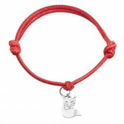 String bracelet fox surgical steel red