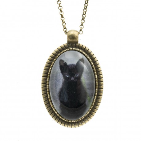 Cat necklace, kitten long photo graphics