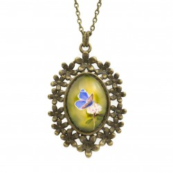 Necklace with butterfly graphics, flowers setting