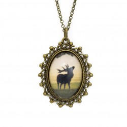 Necklace with deer graphics