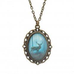 Necklace with a deer graphics