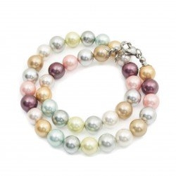 Necklace seashell surgical steel colorful 44 cm