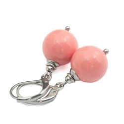 Seashell salmon earrings with surgical steel