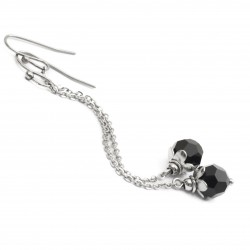 Surgical earrings with Swarovski crystals, long, black