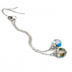 Surgical earrings with Swarovski crystals, long, vitrail medium