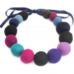Necklace made of felt beads, colorful, massive