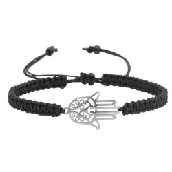 Hamsa adjustable bracelet Fatima hand braided macrame