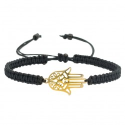Hamsa hand of Fatima macramé braided gold plated steel