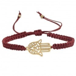 Hamsa hand of Fatima macramé braided gold plated steel, burgundy