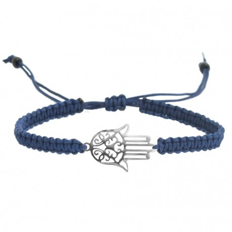 Hamsa adjustable bracelet Fatima hand braided macrame surgical steel, navy blue