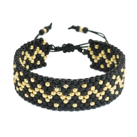 Bead bracelet with patterns black and gold adjustable