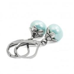 Earrings small pearls mint surgical steel