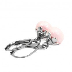 Earrings small pearls acrylic pink surgical steel