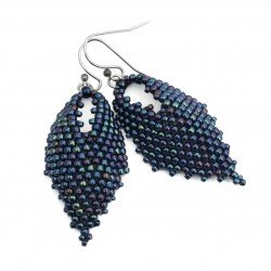 Earrings bead leaves, Toho and metallic cosmos and steel