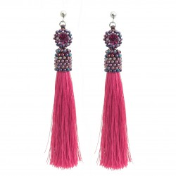 Stick earrings with tassels of roses, fuchsia, with beading crystals, surgical steel