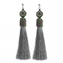 Stick tassel earrings gray, with beading crystals, surgical steel