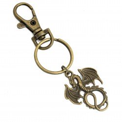 Antique bronze two-sided dragon keyring