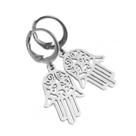 Fatima's hand earrings, Hamsa, surgical steel