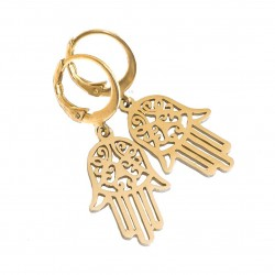 Fatima's hand earrings, Hamsa, gold plated surgical steel