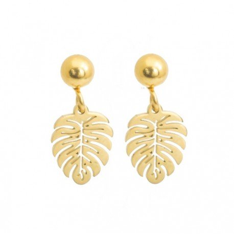 Monstera earrings, mini, gold plated surgical steel