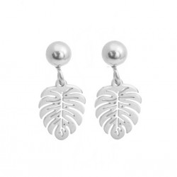 Monstera earrings, mini, surgical steel