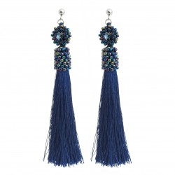 Ear studs navy blue, with beading crystals, surgical steel