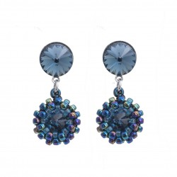 Rivoli earrings denim blue with Toho beads