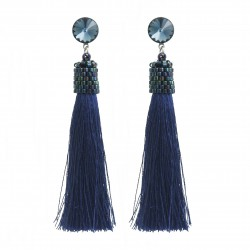 Stud earrings navy blue with rivoli denim blue crystals