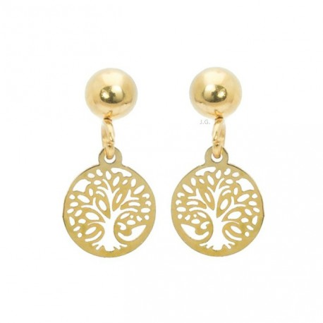 Tree of life earrings, mini, gold plated surgical steel
