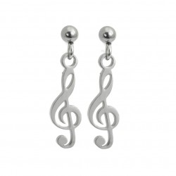 Treble clef earrings, surgical steel