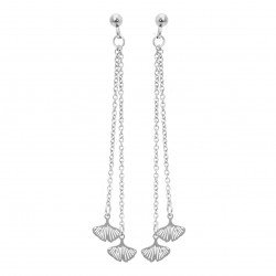 Gingko leaves earrings hanging on chains surgical steel