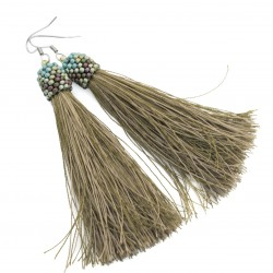 Khaki tassel earrings
