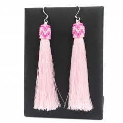 Tassel earrings bright pink