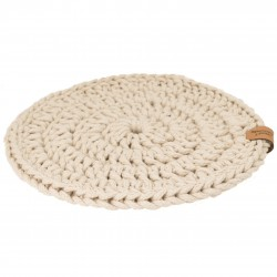 Plate pad light beige, ecru Handicraft from Poland