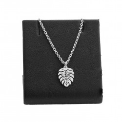 Leaf necklace, monstera, surgical steel 45 cm