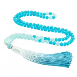 Long Mala necklace with blue tassel ombre