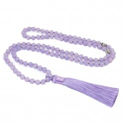Long Mala necklace with tassel lilac purple