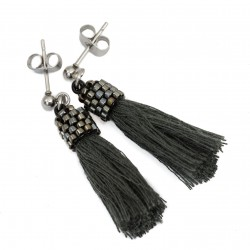 Earrings small tassels dark gray surgical steel, sticks