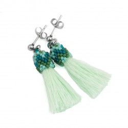 Earrings small tassels bright green surgical steel, sticks