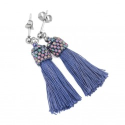 Earrings small tassel indigo blue surgical steel, sticks