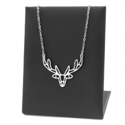 Antler deer necklace, origami, surgical steel 45 cm